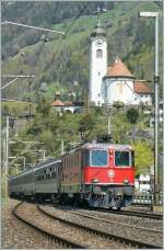 SBB Re 4/4 II 11201 with an IR to Locarno by Flüelen. 