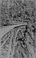 BLS Re 4/4 with the EC  Vauban  on the Bietschtal Bridge.