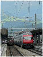 BLS and SBB trains pictured at Spiez on July 28th, 2008.