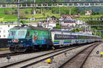 On 27 May 2019 SOB 446 016 pushes a VAE out of Arth-Goldau to Luzern HB.