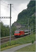 A SBB Re 460 with his IR 90 on the way to Geneva by St-Maurice.