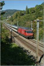 SBB RE 460 008-6 with the IR 2527 between Bossière and Grandvaux.