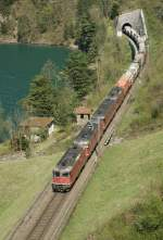 Re 4/4 II and Re 6/6 with a Cargo Train by Flüelen on the way to the Gotthard.
