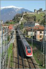 ICN to Lugano just after the departure from Bellinzona Station.