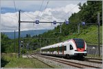 The SBB RABe 522 212  (Flirt France) in La Plaine on the way to Bellegarde.