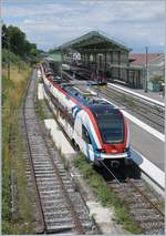 Two SBB LEX RABe 522 214 and 221 in Evian-Les-Bains for the 15:21 Service to Coppet.