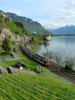 RBe 4/4 with RE 2739 by the Castle of Chillon 02.05.2008