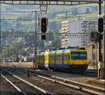 The  Train des Vignes  to Puidoux-Chexbres is leaving the station of Vevey on May 25th, 2012.