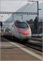 A SBB ETR 610 is arriving at Lugano.