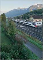 The SBB RABe 503 013-7  Wallis Vailais  from Geneva to Venice in St-Triphon.