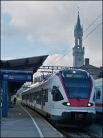 A local train to Engen is waiting for passengers in Konstanz on September 13th, 2012.