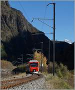 The TMR Region Alps RABe 525 040  NINA  on the way from Martingy to Le Châble between Bovernier and Sembrancher. 