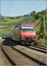 Re 460 089-6 with IC to St Gallen between Bossiere and Grandvaux. 18. 07.2012