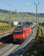 Re 460 082-1 runs with his IR by Cully to Lausanne.