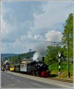 A steam train of the Blonay Chamby heritage railway is leaving Blonay on May 27th, 2012.