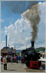 Black and white steam in Blonay on May 27th, 2012.