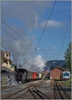 A Steamer train is leaving Blonay on the way to Vevey.