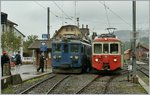 The MOB BDe 4/4 3004 and the CEV BDeh 2/4 74 in Blonay by the B-C.