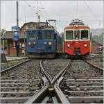 The CEV BDeh 2/4 74 and MOB BDe 4/4 by the Blonay-Chamby in Blonay.