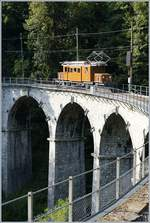 50 years Blonay Chamby Mega Bernina Festival: The Bernina RhB Ge 4/4 182 on the Baie of Clarnes Viadukt by Vers Chez Robert.