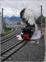 The Blonay-Chamby G 2x 2/2 105 wiht a spzial service from Vevey to Chaulin in St Legier Gare.