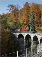 LA DER 2020 by the Blonay-Chamby: The +GF+ Ge 4/4 N° 75 on the Baye de Clarens Viaduct. 