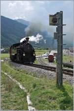 The DFB HG 3/4 N° 9 on the way to Realp by his departur in Oberwald.