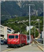 A Glacier Express is arriving in Brig on May 28th, 2012.