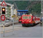 A MGB local train to Göschenen is leaving the station of Brig on May 23rd, 2012.