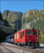 The MGB diesel locomotive HGm 4/4 N° 61 with heritage DFB cars photographed in Gletsch on September 16th, 2012.
