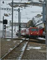 MGB HGe 4/4 is arriving at Andermatt wiht his local Train from Disentis.