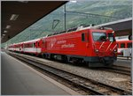 A MGB HGe 4/4 II with a local train to Disentis in Andermatt. 