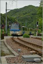 A  Treno Panramico  from Domodossola is arriving at Camedo.