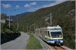 The Ferrovia Vigezzina SSIF ABe 4/8 64 from Re to Domodossola near Malesco.