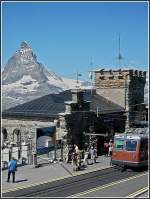 The station of Gornergrat with the Matterhorn in the background pictured on July 31st, 2007.