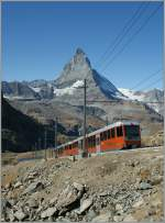 GGB train from Zermatt to the Gornergard by the amazing Matterhorn background.