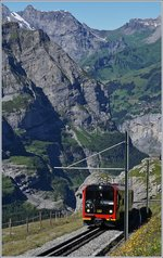 A Jungfraubahn train near the Station Eigergletscher.