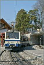 Rochers de Naye train by the stop in Glion.