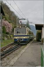 A Rochers de Naye train in the sunless spring times 2012 by Montreux les Planches.