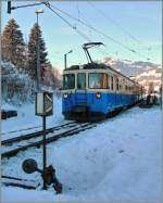 A MOB ABDe 8/8 in the old Gstaad Station.