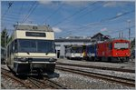 CEV GTW Be 2/6 to Montreux, Be 4/4 and MVR HGem 2/2 2501, MOB Gem 2/2 2502 in Chernex.