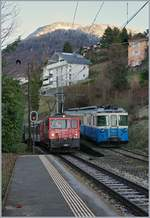 The MOB GDe 4/4 6005 and ABDe 8/8 4003 in Fontanivent.