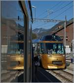 In the Montbovon Station we crossing the MOB Golden Panoramic Express.