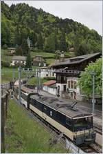 The MOB GDe 4/4 6004  Interlaken  with his PE 2122 on the way to Zweisimmen in Les Avants.