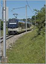 The MVR ABeh 2/6 7504  VEVEY  on the way to Sonzier betweeen Châtelard VD and Planchamp.