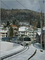 CEV Beh 2/4 N° 72 and Beh 2/4 N° 71 with Bt near Blonay Station.