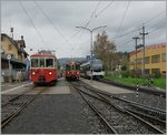 Old and new CEV trains in Blonay.