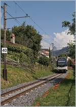 The CEV MVR ABeh 2/6 7507 on the way to Vevey between La Chiésaz and St-Légier-Village.