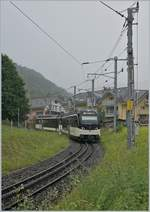 The MVR ABeh 2/6 7502 is comming from the Pléiades and will by shortly arriving at the Blonay station.
