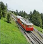 A Rigi-Bahn train between the Rigi Kulm Station and Rigi Staffel.